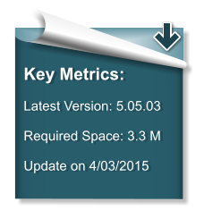 Key Metrics:  Latest Version: 5.05.03   Required Space: 3.3 M  Update on 4/03/2015