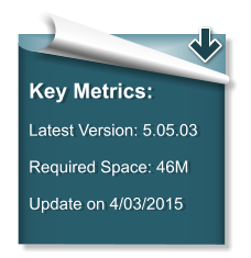 Key Metrics:  Latest Version: 5.05.03   Required Space: 46M  Update on 4/03/2015